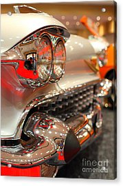 1958 Cadillac Eldorado Biarritz Convertible . Silver . 7d9427 Acrylic Print by Wingsdomain Art and Photography