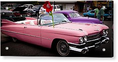 1959 Cadillac Convertible And The 1950 Mercury Acrylic Print by David Patterson