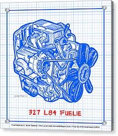 1963 - 1965 L84 327 Corvette Fuelie Engine Blueprint Acrylic Print