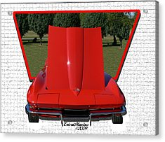 Acrylic Print featuring the photograph 1965 Corvette by EricaMaxine  Price