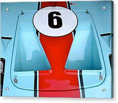 Acrylic Print featuring the photograph 1965 Ford Gt40 Hood Detail by John Colley