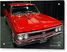 1966 Chevy Chevelle Ss 396 . Red . 7d9280 Acrylic Print by Wingsdomain Art and Photography