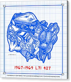1967 - 1969 L71 427-435 Corvette Engine Blueprint Acrylic Print
