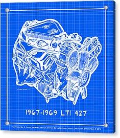1967 - 1969 L71 427-435 Corvette Engine Reverse Blueprint Acrylic Print