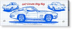1967 Corvette Sting Ray Coupe Blueprint Acrylic Print