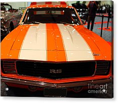 1969 Chevrolet Camaro 350 Rs . Orange With Racing Stripes . 7d9428 Acrylic Print by Wingsdomain Art and Photography