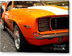 1969 Chevrolet Camaro 350 Rs . Orange With Racing Stripes . 7d9432 Acrylic Print by Wingsdomain Art and Photography