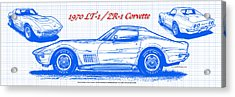 1970 Lt-1 And Zr-1 Corvette Blueprint Acrylic Print