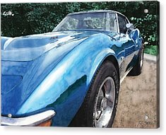Acrylic Print featuring the painting 1972 Blue Corvette Stingray by Rod Seel