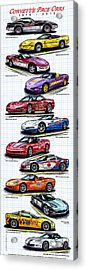 Acrylic Print featuring the drawing 1978 - 2008 Indy 500 Corvette Pace Cars by K Scott Teeters