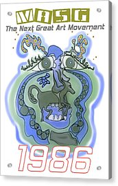1986 Collectors Edition Poster Featuring Upside Down Art By Masg Artist L R Emerson II Acrylic Print by L R Emerson II