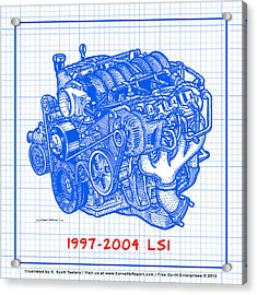 1997 - 2004 Ls1 Corvette Engine Blueprint Acrylic Print