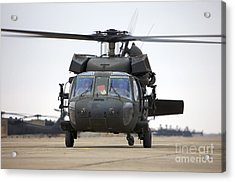 A Uh-60 Black Hawk Taxis Acrylic Print by Terry Moore