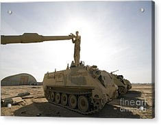 A Us Army Mechanic Uses A M113 Acrylic Print by Terry Moore