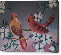 Acrylic Print featuring the painting 2 Birds by Christy Saunders Church