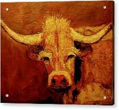 Acrylic Print featuring the painting Bull by Marie Hamby