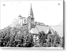 Burg Gutenberg And Church Balzers Liechtenstein  Acrylic Print by Joseph Hendrix