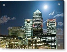Canary Wharf At Night Acrylic Print by John Harper
