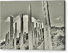Carvings Of Buddhist Teachings Acrylic Print by Joe  Ng