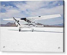 Cessna Aircraft On Bonneville Salt Flats Acrylic Print by Paul Edmondson