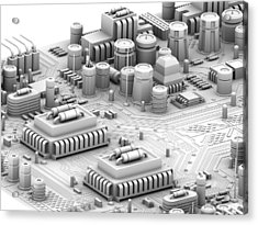 Circuit Board, Artwork Acrylic Print by Pasieka