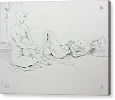 Acrylic Print featuring the drawing 2 Close Friends by Brian Sereda