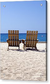 Acrylic Print featuring the photograph Cozumel Mexico Beach Chairs And Blue Skies by Shawn O'Brien