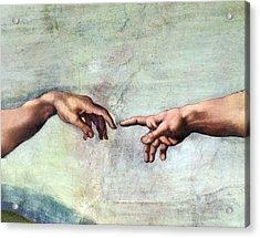 Creation Of Adam Acrylic Print by Sheila Terry