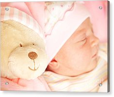 Cute Little Baby Sleeping Acrylic Print by Anna Om