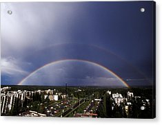 Double Rainbow Over A Town Acrylic Print by Pekka Parviainen