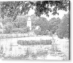 Duck Pond Dinkelsbuhl Germany Acrylic Print by Joseph Hendrix