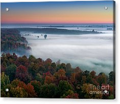 Early Autumn Morning Fog On The Richelieu River Valley Quebec Ca Acrylic Print