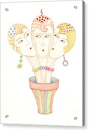 Acrylic Print featuring the painting Flower Pot Ladies by Nareeta Martin