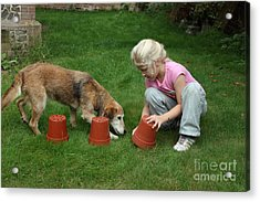 Girl Playing With Dog Acrylic Print by Mark Taylor