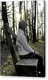 Girl Sitting On A Wooden Bench In The Forest Against The Light Acrylic Print by Joana Kruse