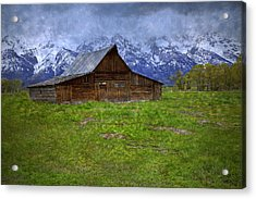 Grand Teton Iconic Mormon Barn Spring Storm Clouds Acrylic Print by John Stephens