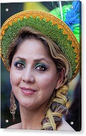 Hispanic Columbus Day Parade Nyc 11 9 11 Female Marcher Acrylic Print by Robert Ullmann