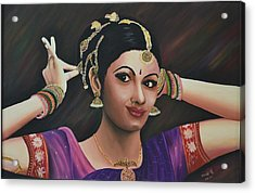 Indian Dancer Acrylic Print by Usha Rai