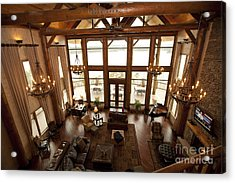 Interior Of Large Wooden Lodge Acrylic Print by Will and Deni McIntyre