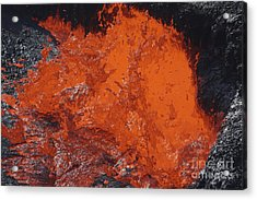 Lava Bursting At Edge Of Active Lava Acrylic Print by Richard Roscoe