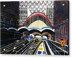 London Canary Wharf Station Acrylic Print by Lesley Giles