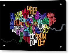 London Uk Text Map Acrylic Print by Michael Tompsett