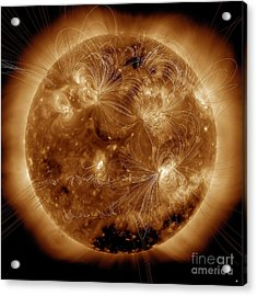 Magnetic Field Lines On The Sun Acrylic Print by Stocktrek Images