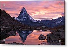 Matterhorn Sunset Acrylic Print by Mark Haley