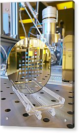 Mems Production, Machined Silicon Wafer Acrylic Print by Colin Cuthbert