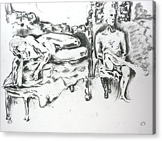 Acrylic Print featuring the drawing 2 Men And Broken Wall by Brian Sereda