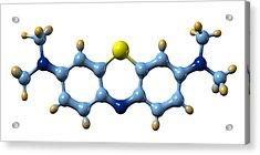 Methylene Blue, Molecular Model Acrylic Print by Dr Mark J. Winter