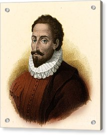 Miguel De Cervantes, Spanish Author Acrylic Print by Photo Researchers
