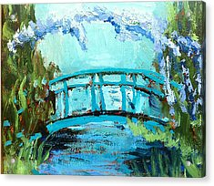 Monet's Bridge Acrylic Print by Joan Bohls