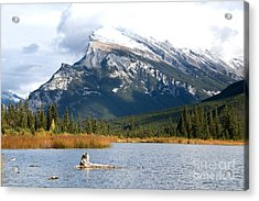 Mt Rundle Banff National Park Acrylic Print by Bob and Nancy Kendrick
